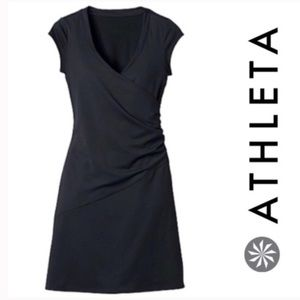 ATHLETA Nectar Faux Wrap Ruched Dress S